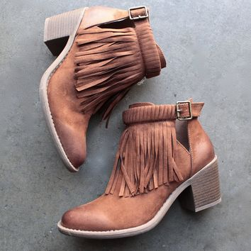 Fringe Cut Out Chunky Heel Booties   Rust