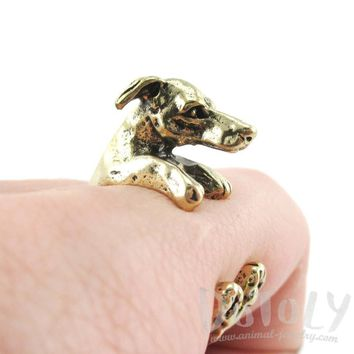 Detailed Greyhound Dog Shaped Animal Wrap Around Ring in Brass | Sizes 5 to 8