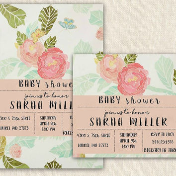 Floral baby shower invitation, printable baby shower invite, 4x6
