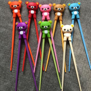 Cute Bear Panda Cat Minions Learning Training Chopsticks For Kids Children Chinese Chopstick Learner Helper