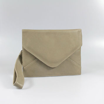 Taupe Cowhide Leather Envelope Clutch