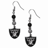 NFL Oakland Raiders Fan Bead Dangle Earrings