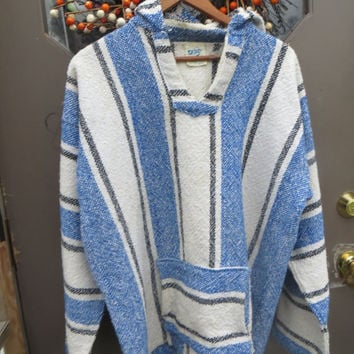Drug Rug Hoodie  Mexican Hooded   poncho, festival wear, surf wear,  beachwear, hippie attire, festival wear  blue white black  xlarge