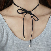 Bow Choker, Black Suede Ribbon Bow Choker, Black Choker Necklace, Black Bow Tie Wrap Choker Necklace