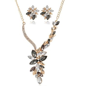 Colorful Austria Crystal Gold Color Necklace Earrings Sets