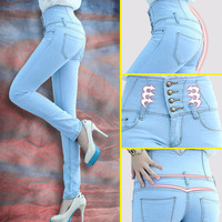 2014 Fashion Women High Waist Skinny Jeans Women Single Breasted High Elastic Slim Pencil Pants Size