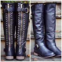 Land Explorer Black Studded Zipper Boots