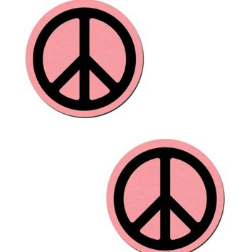 Peace Sign: Baby Pink Felt with Black Peace Sign Pasties