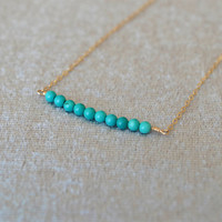 turquoise Layered Necklaces,14k Gold Filled,beaded necklace,girlfriend necklace