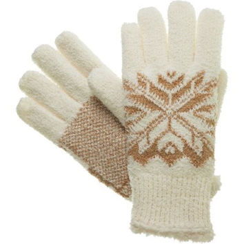 Essentials by Isotoner Women's Snowflake Knit Gloves, Ivory, One Size