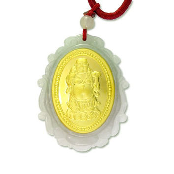 Natural Jade Agate 24k Gold Zodiac Buddha Necklace