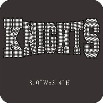 Knights Rhinestone Hotfix Iron on Transfers - DIY Knight Transfer for Team mascot motif