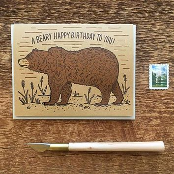 A Beary Happy Birthday to You, Grizzly Bear Birthday Card