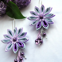 Kanzashi Earrings / Fabric Jewellery / lilac purple / by Marywool