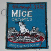 Sew On Patch Wacky Products Badge Applique Mice Crispies Rice Krispies Spoof