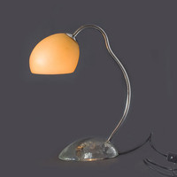 Vintage art deco table lamp with glass foot and shade