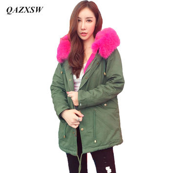 Women's Army Green Large Color Raccoon Fur Hooded Coat Parkas Outwear Long Detachable Lining Winter Jacket Brand Style YX8821