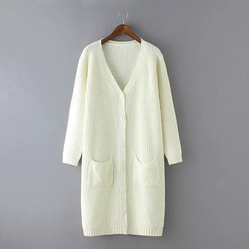 Plain Long-Sleeve Button Pocket Long Cardigan