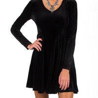 Velvet Fit and Flared Long Sleeve Dress - Black - Black /