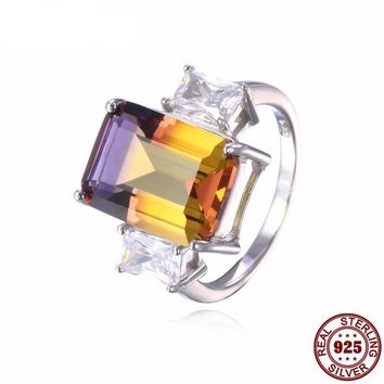 Bi-Color Solid 925 Sterling Silver Ametrine Ring