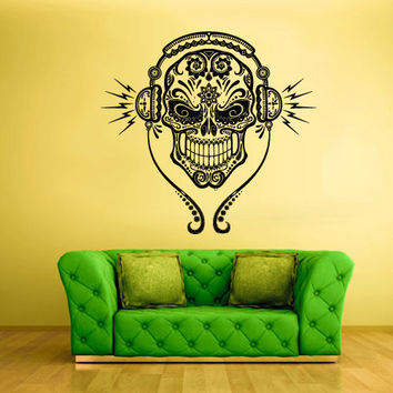 Wall Decal Mural Sticker Beautyfull Cute Sugar Skull Bedroom Curly Music Headphones Menhdi fashion (z2040)