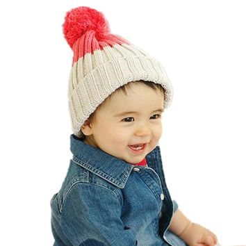 Fashion Children Knitted Ball Hat Autumn Winter Warm Cotton Baby Hat Girl Boy Beanies Kids Cap Candy Color Cute Baby Accessories