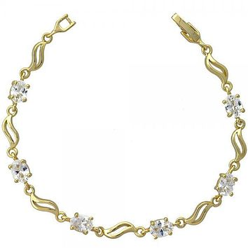 Gold Layered 5.055.015.1 Fancy Bracelet, Leaf Design, with White Cubic Zirconia, Gold Tone
