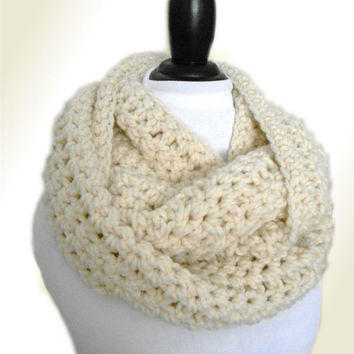 OVERSIZED INFINITY SCARF Cowl Chunky Crochet Eternity Knit Scarf Long in Fishermans White Cream Circle Scarf UniSex Infiniti Loop Scarves