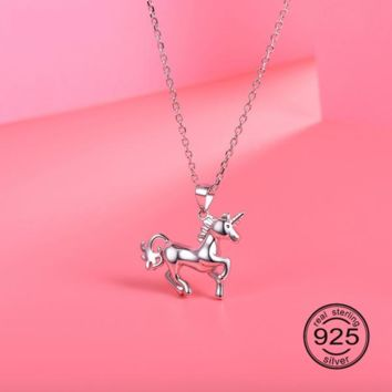 Sterling Silver Unicorn Necklace and Pendant