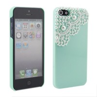 TOOGOO Modern Green Pearl Lace Ice Cream Hard Back Case Cover for Apple iPhone 5