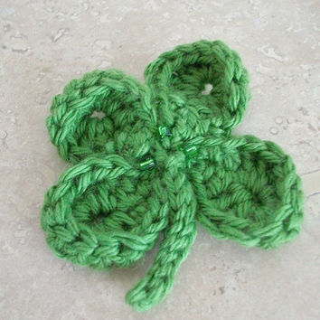 Green Crochet Shamrock Pin Four Leaf Clover Brooch Vegan Handmade Beaded Pin Boho Irish Celtic