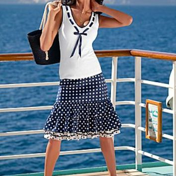 White And Navy (WHNV) Ribbon Trim Top