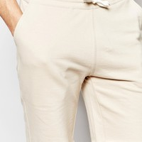 ASOS Mid Length Jersey Shorts In Beige
