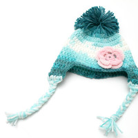 Teal and turquoise Crochet baby girl winter hat with pink flower applique