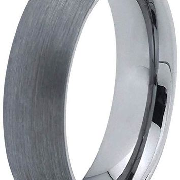 Carson Dome Tungsten Wedding Band Grey Brushed Finish and Comfort Fit - 6mm