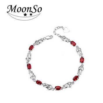 Moonso pomegranate Real 100% 925 Sterling Silver Bracelet & bangles for Men and Women Jewelry S681