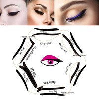 Super style cat eyeliner stencil kit 6 model for eyebrows template the eye makeup a guide diy card