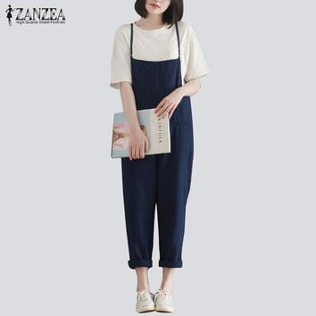 DKLW8 ZANZEA Retro Womens Rompers 2017 Ladies Jumpsuits Casual Solid Loose Spaghetti Strap Sleeveless Pockets Baggy Simple Overalls