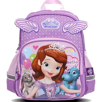 Cute Kawaii Sofia the First Princess Sofia Purple Pink Backpack School Bags for Girls Kids Kindergarten Preschool Children Bag