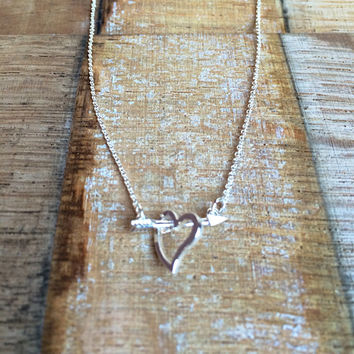 Dainty Silver Heart and Arrow Necklace, Cupid Necklace, Love Struck Necklace