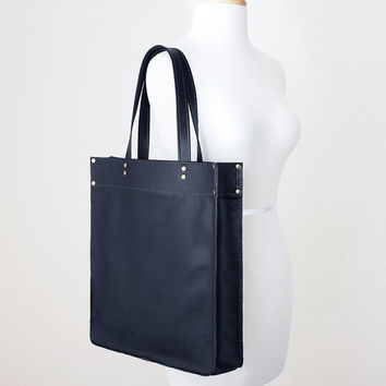Large Black Leather Tote Bag, Everyday Leather Shoulder Bag, Minimal Leather Tote, Leather Shopper