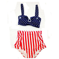 Blue Polka Top Red/White Stripe Bottom Retro High Waist Swimsuit, Retro Swimsuit, Vintage Swimsuit, Swimwear, Retro Bikini S M L