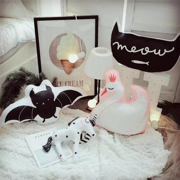 Lovely Cartoon Animals Unicorn Swan Cat Bat Cushion Pillow Kids Bed Room Decor Baby Calm Sleep Dolls Photo Props Nordic Style