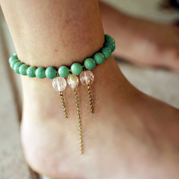 Green beaded anklet with dangle charms by NativeLivingJewelry