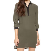 Long Sleeve Collar Mini Dress with Side Slit