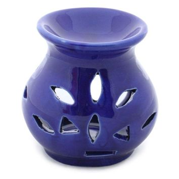 Handmade Ceramic Oil Diffuser / Warmer In Royal Blue Color
