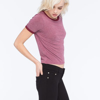 H.I.P. Marled Womens Ringer Tee Burgundy  In Sizes