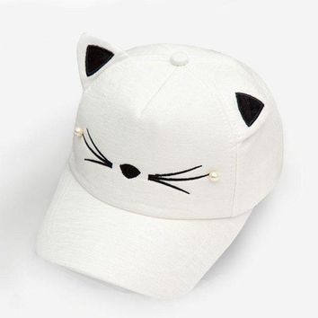 CREYUX5 cute korean baby summer hat ears cat white cotton canvas beach hats kids girls soild color casual style adjustable style