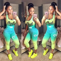 Victoria's Secret Pink Classic Hot Sale Women Casual Gradient Print Sleeveless Vest Pants Set Two-Piece Sportswear