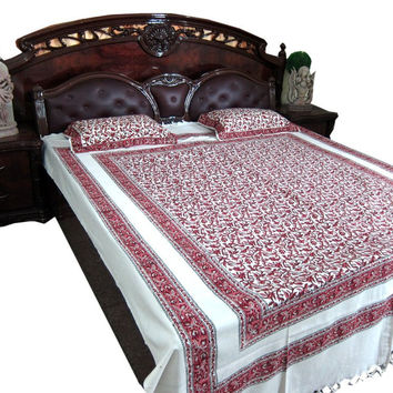 Indian curtain fabric Bedding White Maroon Floral Cotton Tapestry Bedspreads